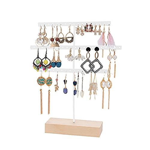 Soporte de exhibición de la joyería Soporte de pendiente, titular de 3 uños de 3 niveles con base de madera, titular del organizador de la joyería para para el anillo del collar de la pulsera Soporte