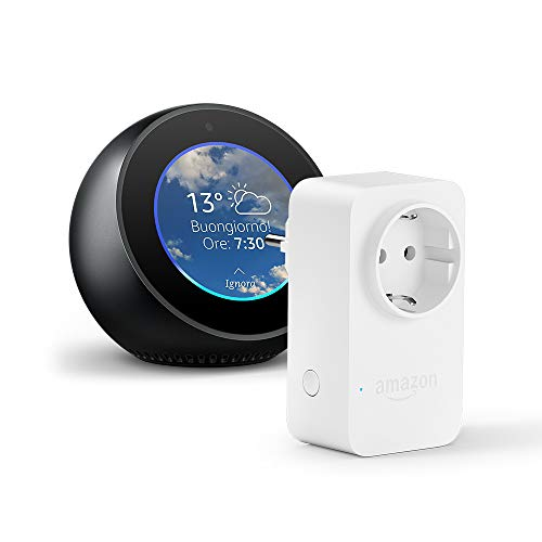Amazon Echo Spot, Nero + Amazon Smart Plug, compatibile con Alexa