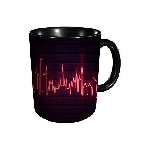 Hdadwy Roter Neon der Wiener Stadt Heller Wiener Langbanner Kaffee Tee Wasser Tasse Keramikbecher 330ml Volldruck
