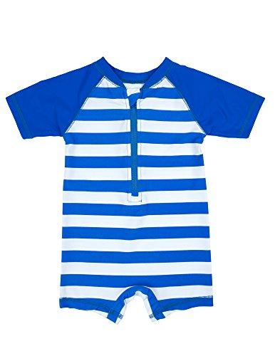 Leveret Kids Baby Boys Girls One Piece Rashguard UPF 50+ Striped Blue/White Size 12-18 Months