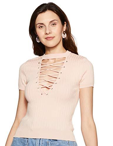 Forever 21 Women's Plain Sweater (250995_Light Pink_Small)