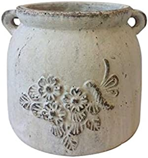 Heavy Hand Pressed Ancient Stressed Round Flower Pot or Planter with Loop Handles 2 Colors Available. Vintage White