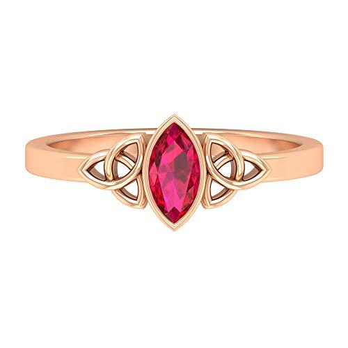 Anillo de compromiso solitario, anillo de filigrana vintage, anillo de boda único, anillo de 0,55 ct 7 x 3,5 mm, anillo de rubí con forma de marquesa, anillo Art Deco, 14K Oro rosa, Size:EU 66