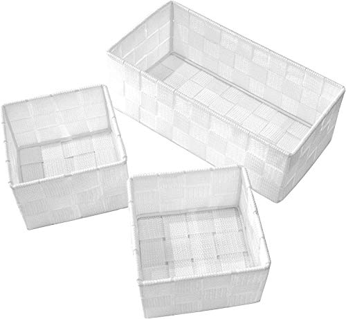 Clay Roberts Storage Baskets, 3 Pack, White, Small Storage Baskets for Cupboards, Bathrooms and Shelves