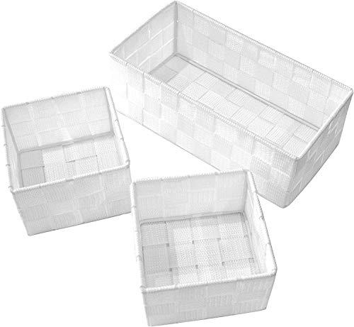 Clay Roberts Aufbewahrungskorb, 3er Pack, Weiß, klein und mittelgroß, Aufbewahrungsboxen für Badezimmer