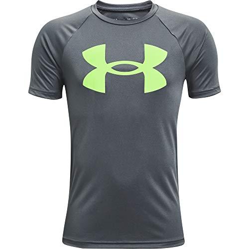 Under Armour Boys' Tech Big Logo Short-Sleeve T-Shirt , Pitch Gray (012)/Summer Lime , Youth Medium
