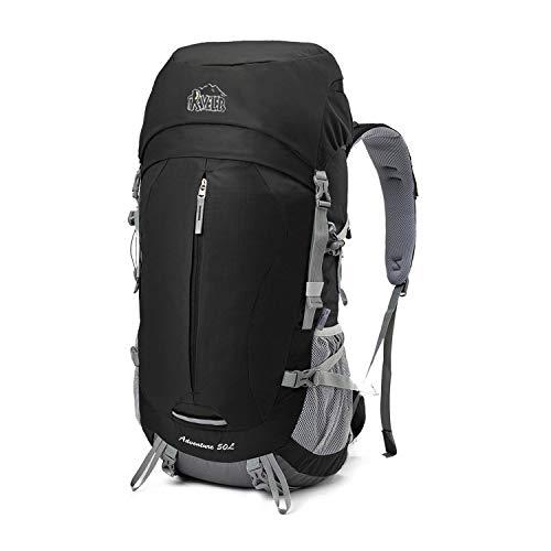 Aveler 50L Unisex Lightweight Nylon Internal Frame Hiking Backpack with Rain Cover