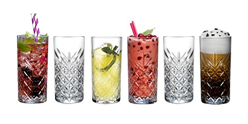 "'Pasabahce 52820Long Drink ""Timeless de cristal en cristal de diseño, altura aprox. 14,3cm, set de 6piezas de vidrio"