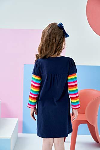 VIKITA Vestido para Niñas Manga Larga Algodón Princesa Casuales Bebe Niñas lh5805 8T