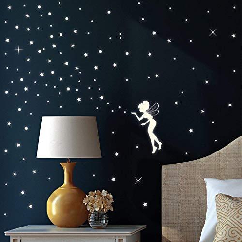 Wandtattoo-Loft Leuchtaufkleber Fluoreszierende Fee mit Sternen (Leuchtend im Dunkeln) für einen tollen Sternenhimmel in Kinderzimmer