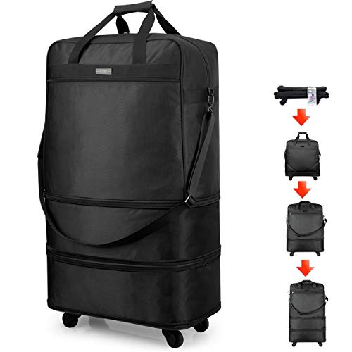Hanke Expandable Foldable Luggage Suitcase Ripstop Rolling Travel Bag Lightweight Collapsible Luggage 20/24/28 inch Without Telescoping Handle, Black