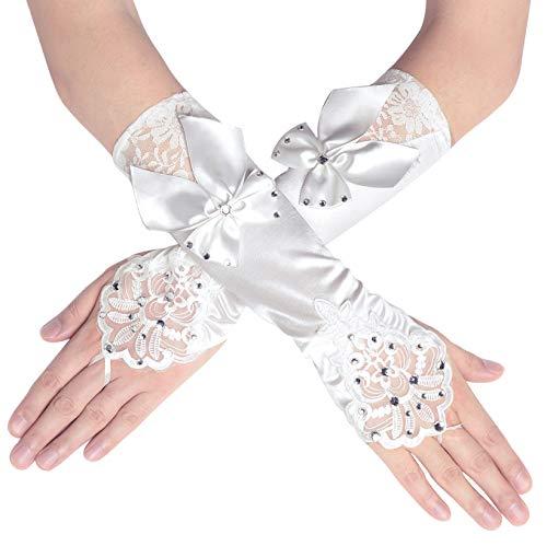 Babeyond Dameshandschoenen, satijn classic Opera feest party Audrey Hepburn handschoenen 1920 stijl, elastisch, volwassenen, maat elleboog tot pols, lengte 52/55 cm