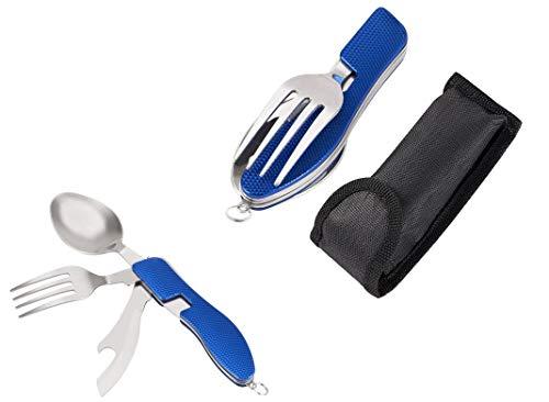takestop Cubertería plegable cuchillo WS multiusos suizo cuchara tenedor de acero inoxidable con estuche color aleatorio
