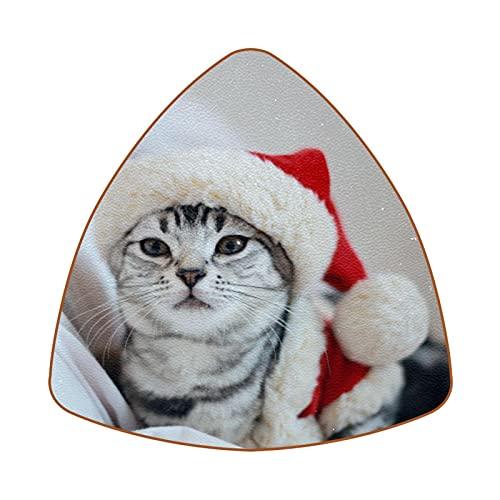 Bennigiry Cute Cat On Christmas Hat - Juego de 6 posavasos de piel con diseño de diamante resistente al calor