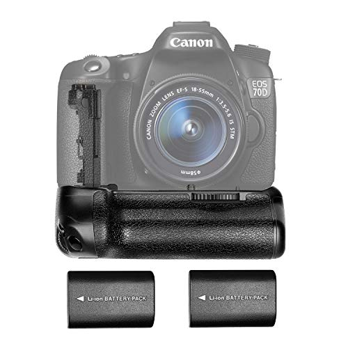Neewer Battery Grip (Replacement for BG-E14) and 2 Pieces 2000mAh Replacement Li-ion Battery Pack for Canon LP-E6, Suitable for Canon EOS 70D 80D DSLR Cameras, AA Battery Holder LP-E6 Holder Included