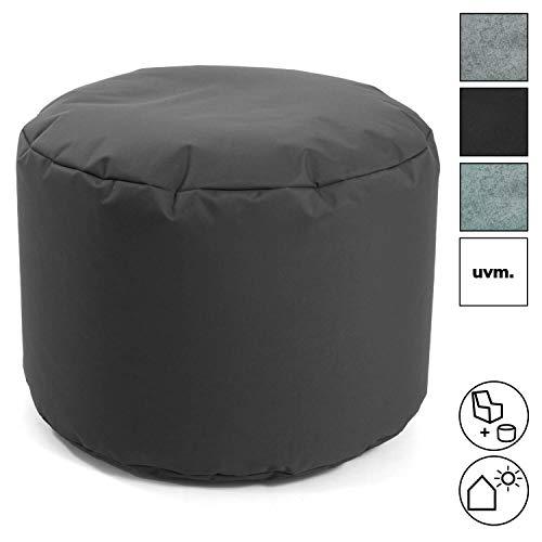 mokebo® Pouf 'Der Ruhepouf' rundes Sitzkissen Indoor & Outdoor oder Hocker, Made in Schwarzwald, Outdoorstoff in Anthrazit 007