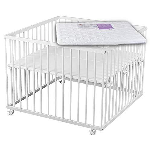 Sämann® Laufgitter 100x100 cm Buche weiß mit Matratze, TÜV geprüft 2020, stufenlos höhenverstellbar, Baby Laufstall