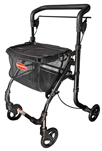 FabaCare Indoor Rollator ActimoHome, schmal mit Tablett, Leichtgewicht Wohnungsrollator faltbar, Heimrollator, bis 100 kg, Schwarz