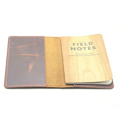JJNUSA Diario de viaje hecho a mano de piel auténtica envejecida para notas de campo, cuadernos de piel para cuaderno de 3,5 x 5,5 pulgadas Moleskine Cahie Vintage bloc de notas rellenable marrón