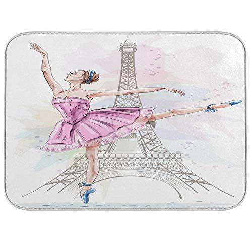 LUCKYEAH - Alfombrilla de secado de platos de bailarina de ballet con diseño de Torre Eiffel, absorbente, de secado rápido, escurridor de platos para el hogar, cocina, encimera, fregadero de