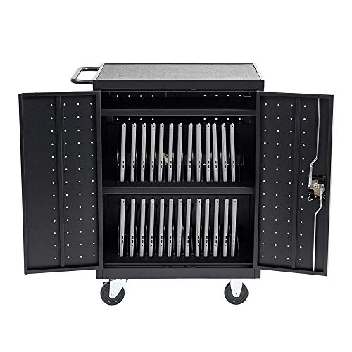 30 Device Mobile Charging and Storage Cart for iPads, Chromebooks and Laptop Computers, Up to 13-inch Screen Size, Surge Protection, Front & Back...