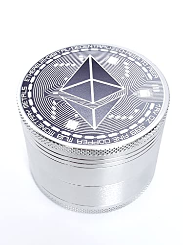 Ethereum Herb Grinder - Original ETH Dry Herb Grinders 4 Piece Set, Strong Anodized Aluminum, Large 2.5in Diameter, Perfect for Travel, Networking, Gift for Crypto Investors and Coin Collectors.