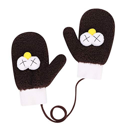 Winterhandschuhe Junge Mädchen Fäustlinge Winter Plüsch Handschuhe Handwärmer Cartoon Kinderhandschuhe mit Schnur Winddichte Fausthandschuhe Outdoor Skifahren Warme Gloves für 4-8 Jahre Kinder