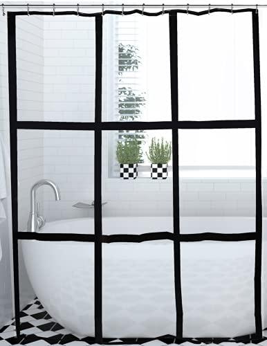 Remadi - Der Stylishe Umweltfre&liche Transparente Duschvorhang mit 12 eleganten Edelstahlhhängern - 180x200 – Anti Schimmel – Anti Bakteriell - Wasserfest