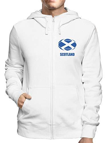 Sweatshirt Hoodie Zip Weiss T0927 Scotland Rugby Calcio Ultras