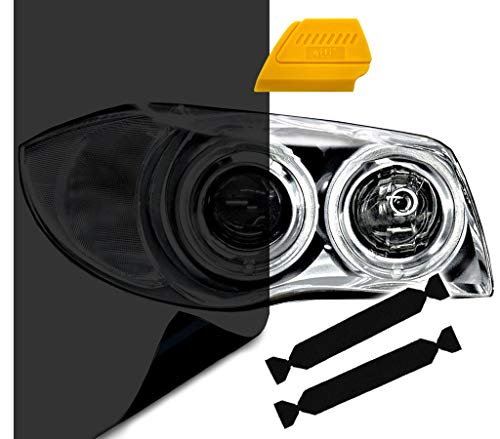 VViViD Air-Tint Extra-Wide Headlight Taillight Vinyl Tint Wrap 16 Inch x 48 Inch Roll Including Yellow Detailer Squeegee & 2X Black Felt Edge Decals (Dark Black)