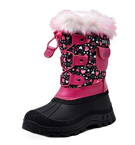 DREAM PAIRS Little Kid Ksnow Black Pink Isulated Waterproof Snow Boots - 11 M US Little Kid
