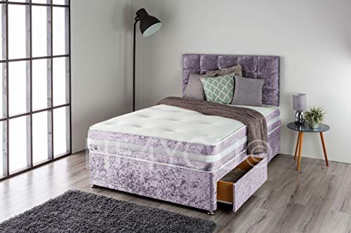 Home Furnishings UK Crushed Velvet Divan Bed Set with a 3D Bordered Orthopedic 12.5 gauge Sprung Mattress and Matching Buttoned Headboard (2 Drawers) (4FT Small Double, Purple)