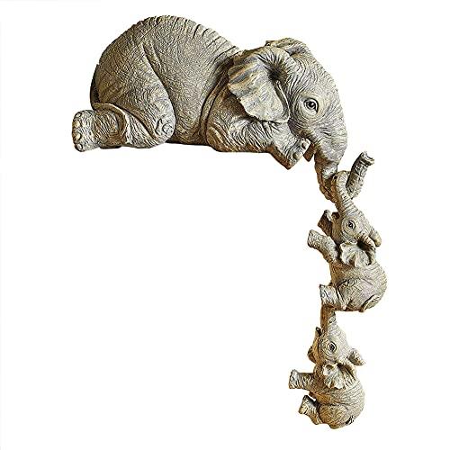 Juego con 3 figuras elefante, estatua elefante resina, madre elefante los 2 bebés que cuelgan del borde un estante o una figura mesa adornos artesanales pintados a mano para decoración jardí