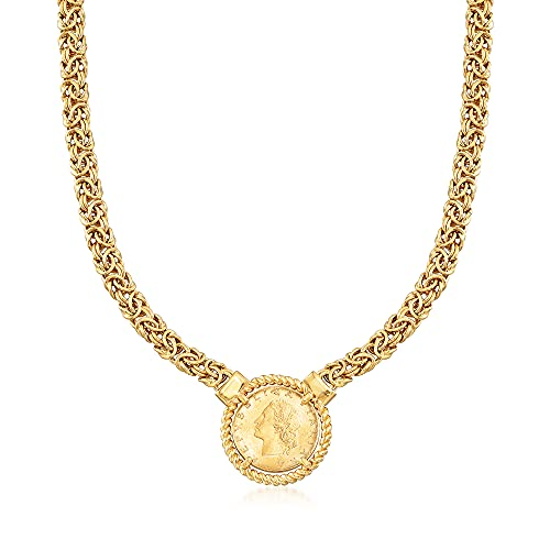 Ross-Simons Italian 18kt Gold Over Sterling Replica Lira Coin Byzantine Necklace. 18 inches