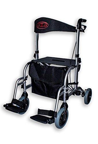 Antar 13709Premium Hybrid Andador de aluminio y silla en una silla, Transporte, plegable