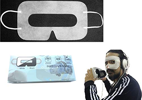 INKECI Universal Disposable VR Mask Oculus Quest face Cover for Oculus/HTC VR -Prevent Eye Infections ( White 100pcs)