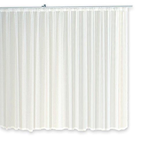 Haus und Deko Gardine Kräuselband Emotion weiß transparent 300 x 175 cm Organza Vorhang klassisch kurz mittel oder lang Voile Store