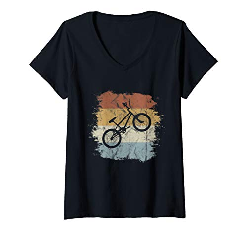 Damen Old School BMX Fahrrad | Retro Style Dirtbike Cross-Rad T-Shirt mit V-Ausschnitt