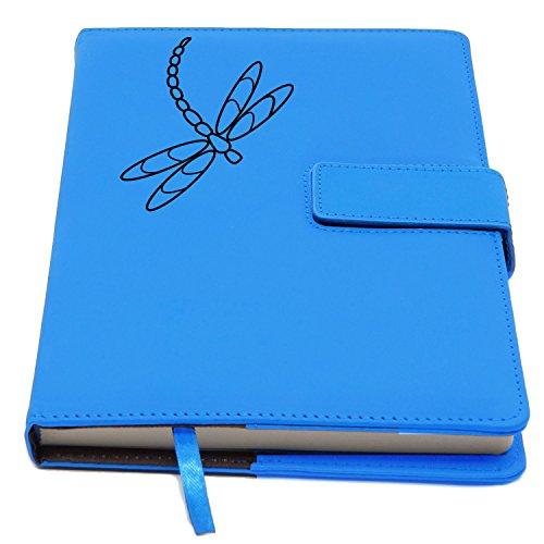 The Amazing Office – Klassisches nachfüllbares Notizbuch – schönes Libellen-Design aus PU-Leder – nachfüllbar mit sicherem Magnetverschluss – mittlere Größe – 100 Blatt 200 Seiten hellblau