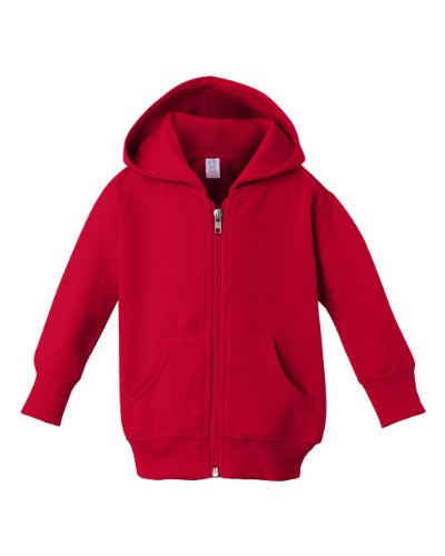 Infant Plain Zip Fleece Red Hoodie