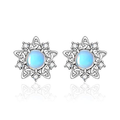 Celtic Knot Infinity Moonstone Stud Earrings for Women S925 Sterling Sliver Triquetra Hypoallergenic Piercing Studs for Sensitive Ears Trendy Dainty Irish Gifts Girls