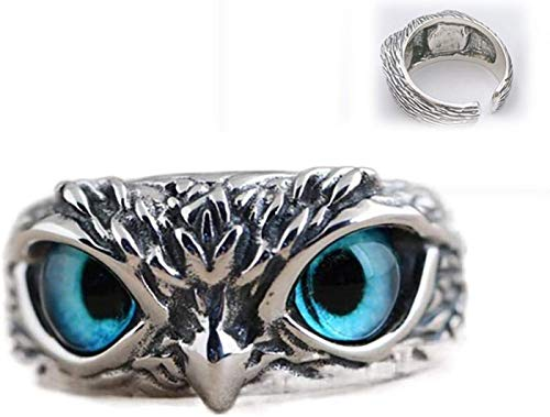 Chagoo 925 Sterling Silver Demon Eye Owl Ring