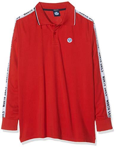 NORTH SAILS Polo L/S W/Insert T-Shirt, Rosso (Pompeian Red 241.0), (Taglia Produttore:L) Uomo