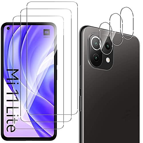 QULLOO Protector de Pantalla para Xiaomi Mi 11 Lite 4G/5G [3 Piezas] + Protector de Lente de Cámara [3 Piezas], 9H HD Alta Sensibilidad Cristal Templado para Xiaomi Mi 11 Lite 4G/5G