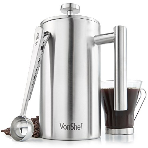 VonShef Double-Wall Satin Brushed Stainless Steel French Press