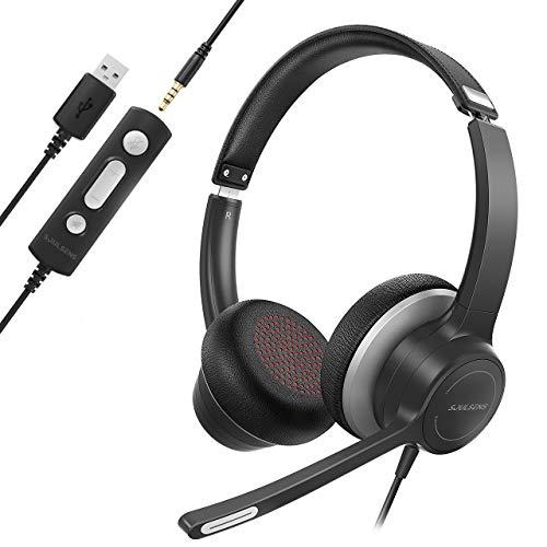 Soulsens PC Headset mit Mikrofon für Laptop, USB Headset mit Noise-Cancelling-Mikrofon, 3,5mm PC Headset, Computer Headset für Skype, Homeoffice, Webinar, Gaming, e-Learning, Call Center