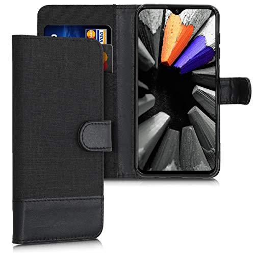 kwmobile Custodia Compatibile con Umidigi One Max - Cover a Portafoglio Porta Carte Tessuto Simil Pelle Stand - Case Magnetica