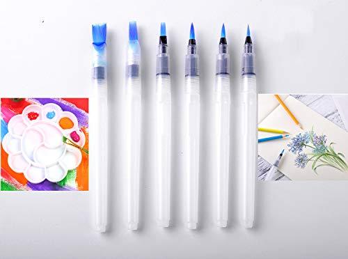 6 Piezas Pinceles para colorear,1 Una paleta,Pintura A La Acuarela Pinceles Pluma para lápices de colores solubles en agua,Marcadores de color de agua,Acuarela de pigmento en polvo (transparente)