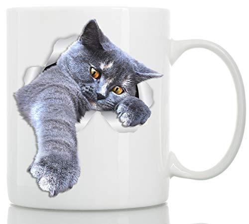 Playing Grey Cat Mug - Gray Cat Ceramic Coffee Mug - Perfect Grey Cat Gifts - Funny Playing Grey Cat Coffee Mug for Cat Lovers 11oz