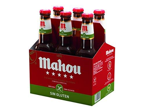 Mahou 5 Estrellas Sin Gluten Cerveza Especial Sin Gluten, 5.5% de Volumen de Alcohol - Pack de 6 x 33 cl